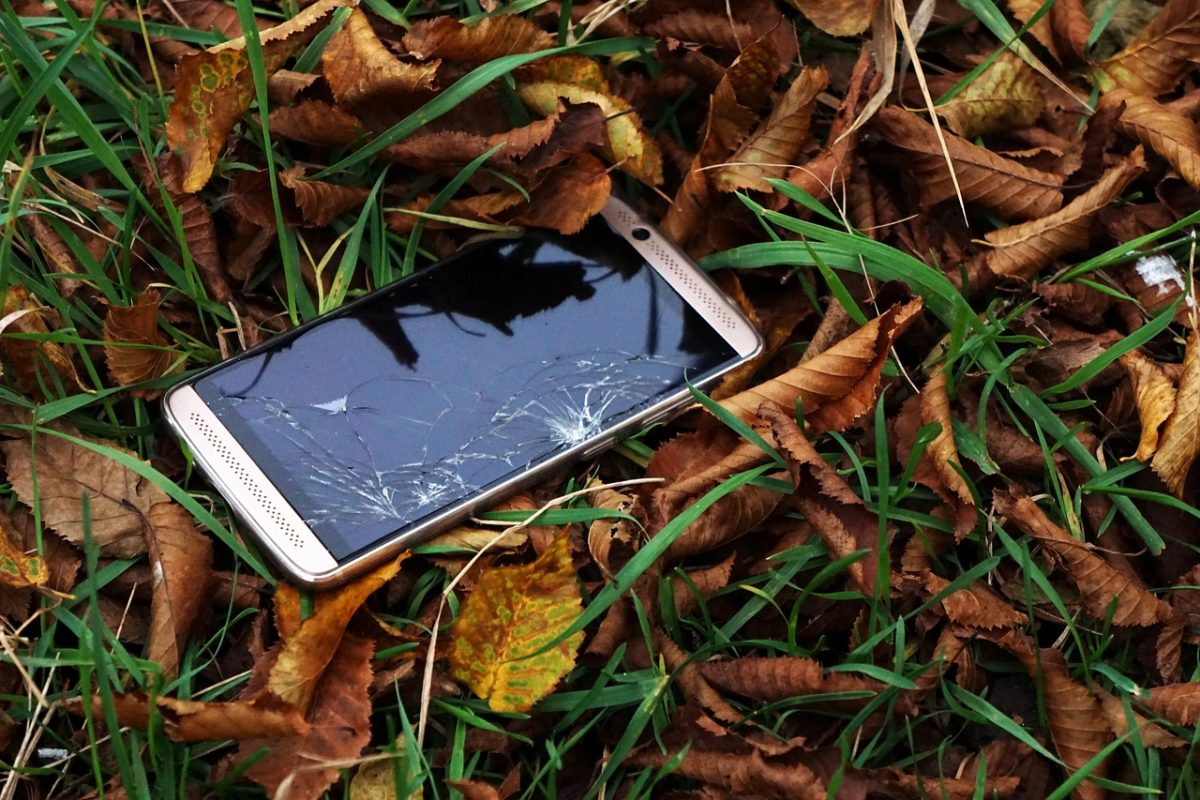 lost smartphone on the ground
