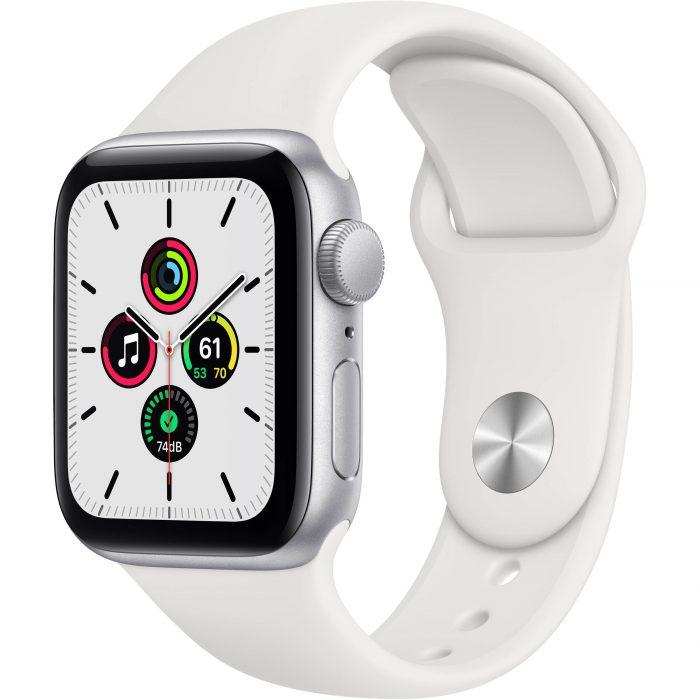 Apple Watch SE Silver Smartwatch White Sport Band